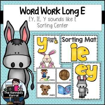 Long E: EY, IE, Y sounds like E {Anchor Charts, Mats, Word