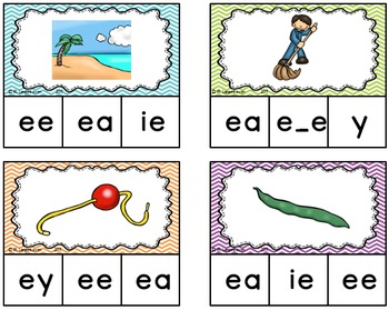 Long e Vowel Sound Clip Cards