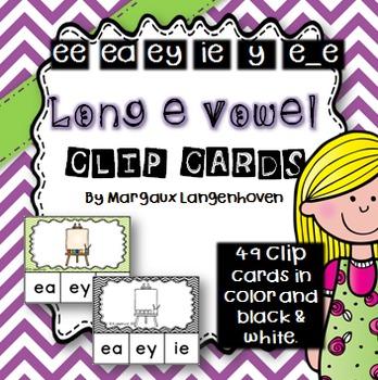Long e Vowel Sound Clip Cards