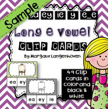Long e Vowel Sound Clip Cards SAMPLE