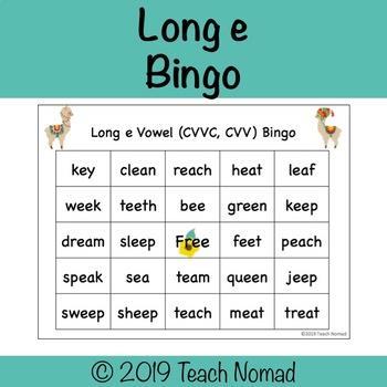 Long e  Vowel Teams (CVVC, CVV) Bingo