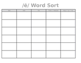 Long e Word Sort ~ Editable!