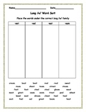 Long e Word Sort with Word Bank