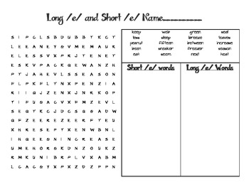 Long /e/ and Short /e/ Word Search and Word Sort