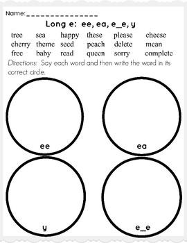 Long e (ea, ee, e_e, y) Worksheet