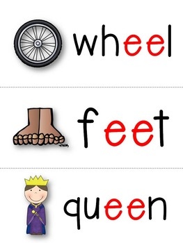 Long e ee & ea Word Cards
