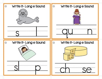 Long e (ee, ea, y) Write It Phonics Cards