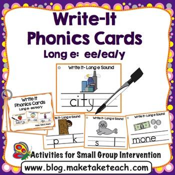 Long e (ee, ea, y) Write It Phonics Cards