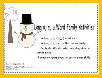 Long e, o, and u, silent e Word Work Activities