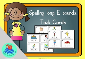 Long e task cards. 20 cards to practice ea and ee.