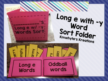 Long e with -y Word Sort Folder