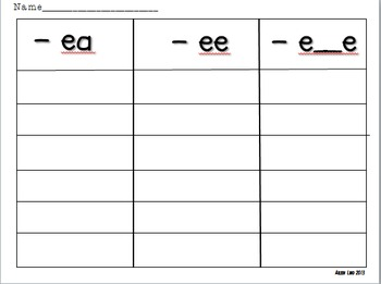 Long e: word sort game ea, ee, e_e vowel diagraphs