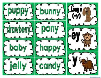 Long e (-y), ey, y word sort activities