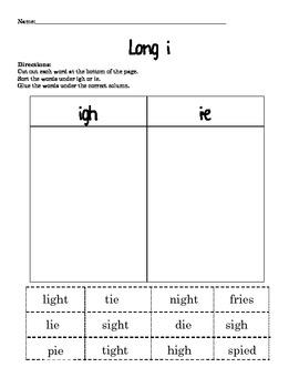 Long i Phonics Packet