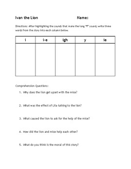"""Long """"i"""" Reading Passage Activity - i, i-e, igh, y, and ie practice"""