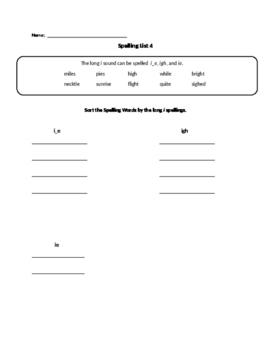 Long i Spelling Activities