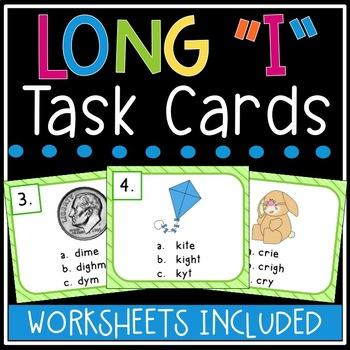 Long i Task Cards (silent e, igh, y)