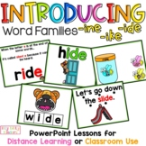 Long i Word Families -ike, -ide, -ine, CVCe Words, Distance Learning