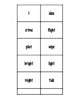 Long i-_igh, i, i_e Word Sort