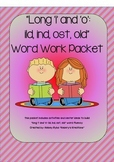 """Long """"i"""" and """"o"""" (-ild, -ind, -ost, -old) Word Work Packet"""