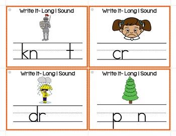 Long i (i, i_e, ie, igh, y) Write It Phonics Cards