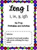 Long i (i, ie, igh, y) Printables and Activities