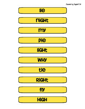 Long i: ie, igh, y Game and Word Sort