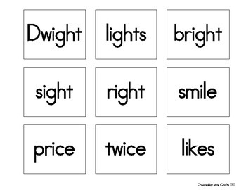 Long i ('igh' , 'i_e', 'ie', 'i', 'y') Search, Sort, and Sit Activity