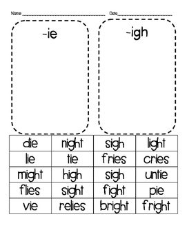 Long i sounds, -ie and -igh sort cut and paste