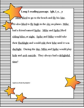 Long i, spelled igh, i_e, and y  and phonics handout