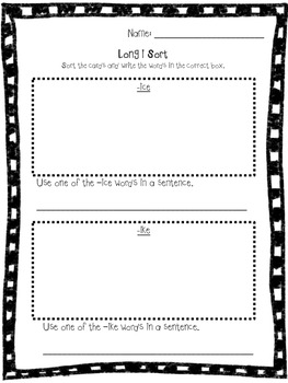 Long i word sort (using the silent e - cvce pattern)