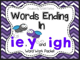 Long i: y, ie, igh Word Work Packet
