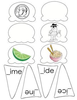 Long i_e Ice Cream Cone Word Sort