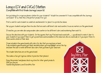 Long o (CV and CVCe) Station (Compatible with Journeys First Grade Lesson 16)