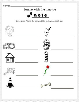Long o Magic e Worksheet