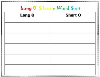Long o Silent e Word Sort