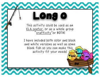 "Long o Vowel Sound- ELA Center and ""Craftivity"""