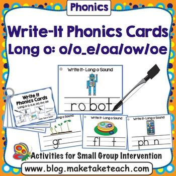 Long o (o, o_e, oa, ow, oe)  Write It Phonics Cards