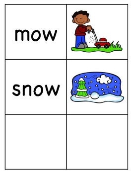 Long o (ow) Picture Word Match