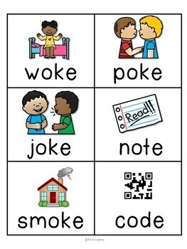 Long o silent e CVCe Word Work Packet