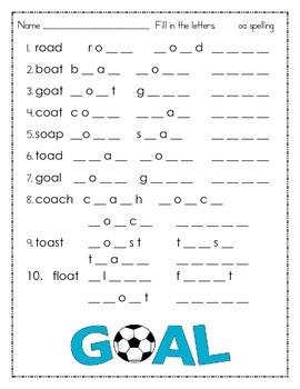 Long o using oa vowel team spelling packet
