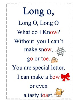 Long o vowels teams o, oa and ow Poem