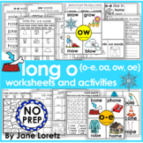 Long o worksheets and activities (o-e, oa, ow and oe) NO PREP