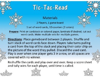 Tic Tac Read Long oa ow Reading Station Center Game for Reading Fluency Practice