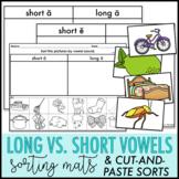 Long Short Vowel Picture Sort   Long Short Vowel Cut and Pastes