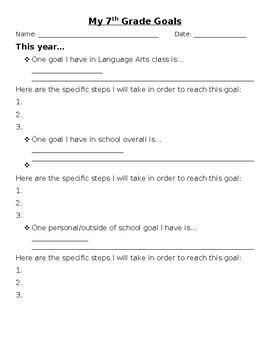 Long term and Short term Goal Setting Sheet