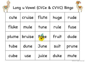 Long u (CVCe & CVVC) Phonics Bingo - Llama Theme