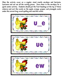 Literacy Center - Long u - Phonics - Reading