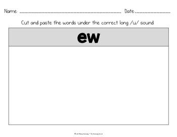 Word Work: Digraph Long U - EW, UI, UE