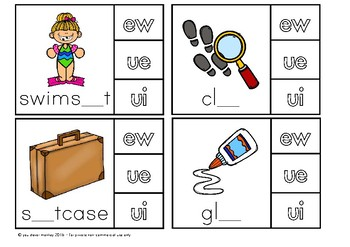 Digraph Long 'u' Sound Activities - ew/ue/ui